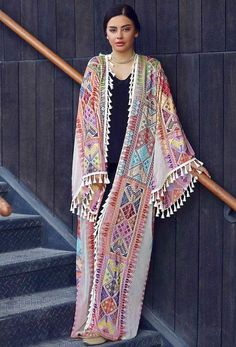Long Sleeve Tassel Coats the latest fashion & trends in women's collection. Abaya Fashion, Modest Fashion, Fashion Dresses, Women's Fashion, Fashion Online, Fashion Coat, Mode Kimono, Kimono Top, Kaftan Abaya