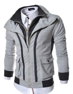 Korean athletic clothing for men. 100% cotton double zip-up hooded jackets 38c3c40d280