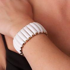 Vintage White Lucite and Gold Tone Flex Bracelet. $16.00, via Etsy.