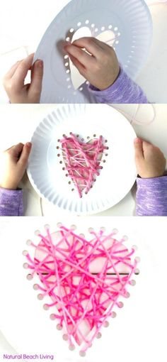 Yarn Paper Plate Heart Craft - Beginner Sewing for Preschool and Kindergarten Valentine's Day Activities: Yarn Paper Plate Heart Craft and Beginner Sewing for Preschool and Kindergarten. Great fine motor skill with super results kidos will be proud of. Preschool Valentine Crafts, Valentine's Day Crafts For Kids, Valentines Day Activities, Sewing Projects For Kids, Valentines For Kids, Sewing For Kids, Sewing Crafts, Valentine Ideas, Valentines Crafts For Preschoolers