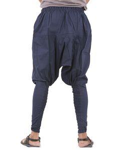 ba27c420922967 Mens Womens Yoga Lightweight Cotton Handmade Harem Pants - Ninja Style -  Blue Color - CW188NWEZCZ