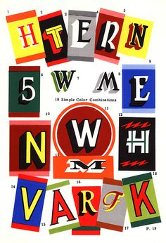 A collection of 18 color combinations for typography, scanned from the book The Sign Painting Course by E.C. Matthews, 1960 edition, Nelson-Hall Co., Publishers. This book was a discard from a Chicago Public Library. As happy as I am to have this book, our dying tradition of hand-painted signage needs books like this to stay in public library collections!