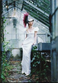 John Galliano's dress for Givenchy Haute Couture Steven Meisel photo Grace Coddington stylist Linda Evangelista model