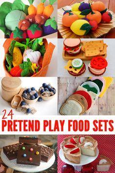24 Fabuloso hechos a mano Pretend conjuntos de juego de comida