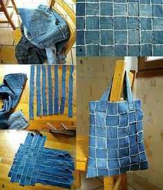 There are many ways to reuse old jeans . I like this jeans handbag too ! With the same technology , you can make a stylish vest. You will need: - old jeans; - needle and thread (sewing machine). Directions: Cut several long and even strips. Jean Crafts, Denim Crafts, Artisanats Denim, Denim Fabric, Denim Purse, Blue Denim, Patchwork Jeans, Patchwork Quilting, Woven Fabric