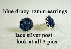 Earrings  12mm Blue Druzy  Lace Silver Post & by MaDGreenCreations