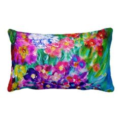 Whimsical Summer Day Flower Lumbar Pillow II Exquisitely gorgeous, you will find overwhelming appeal in our decorative Whimsical Summer Day Designer Flower Lumbar Pillow II. Designed by Marie-Jose Pappas of Innocent Originals.  http://www.zazzle.com/innocentoriginals