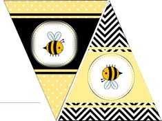 Free Printable Bee Party Theme Flag Banner. If you would like the entire FREE set with cupcake wrappers, toppers and garland you can get it here: http://www.seshalynparty.com/event-party-planning/bee-party-theme-free-printables/
