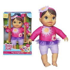 """This interactive Baby Alive Plays and Giggles Baby Doll Brunette is just the baby for your little girl to experience the fun of real babies! She reacts to your little girl's movements, so she'll love discovering what the doll does when she cuddles or twirls her around. She loves to bounce and play, and she says fun things for your daughter to respond to, like """"Bouncy, bouncy, bouncy!"""""""