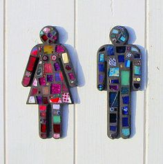 Mosaic Lady And Gentleman Sign. Love this for a outdoor pool bathroom
