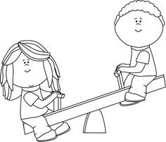 Black And White Kids On Teeter Totter Clip Art