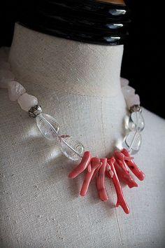 ROCA de cristal de roca cuarzo de rosa collar de por carlafoxdesign