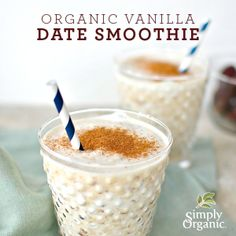 Nutritious dates and sweet #organic vanilla flavoring make this smoothie recipe a wholesome treat.