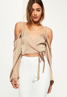 Missguided - Nude Wrap Over Cold Shoulder Blouse