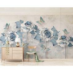 3d Wallpaper Flower, Home Wallpaper, Wallpaper Paste, Wallpaper Decor, Eclectic Wallpaper, Wallpaper Designs, Textured Wallpaper, Nursery Wall Stickers, Wall Decals