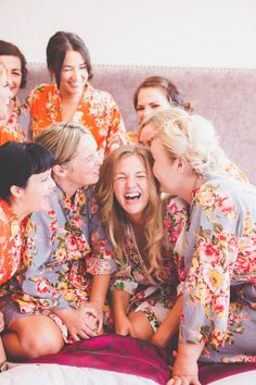 Bridesmaids in matching Kimonos | Pastel Wedding | Summer Wedding | Image by Ferri Photography | http://www.rockmywedding.co.uk/kerry-ben/