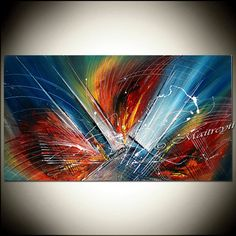 LARGE ARTWORK BLUE painting Red abstract art Modern Artwork Mountain Water Fall Oversize canvas large artwork