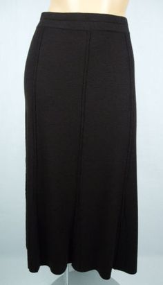 EILEEN FISHER Brown Stretch Skirt L 100% Wool Long Banded Waist Travel Career