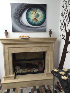 Semineu travertin Decor, Home Decor, Fireplace