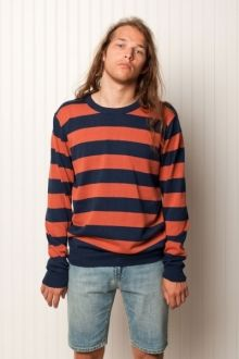 """Xavi.   100% cotton, L/S crew neck stripe pullover; 12gg cotton sweater knit. """"thin line between love and hate.""""  $89.99"""