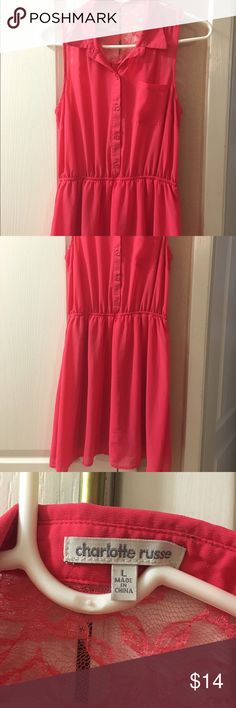 Charlotte Russe hot pink dress Cute Charlotte Russe button down collar dress! In good condition! Perfect causal dress. Measures 12 1/2 inches across the midsection. Happy Poshing!!! 😘 Charlotte Russe Dresses