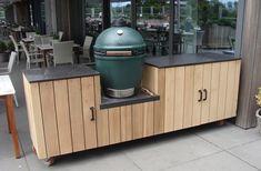 Big Green Egg Outdoor Kitchen, Big Green Egg Table, Outdoor Kitchen Patio, Bbq Kitchen, Outdoor Kitchen Design, Outdoor Grill Station, Outdoor Cooking Area, Kamado Bbq, Diy Concrete Countertops