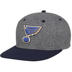 5c3925f4870 Men s St. Louis Blues Fanatics Branded Heathered Gray Navy Ash Snapback  Adjustable Hat
