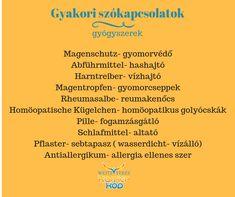 Szószedet - gyógyszerek German Language, English, Education, Learning, Learn German, Languages, Knowledge, Studying, English Language