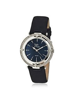 Sophie and Freda Women's SF1402 Tuscany Black/Silver Leather Watch