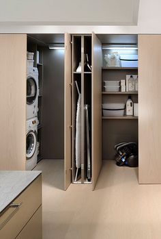 Cool 35 Chic Hidden Laundry Room Designs Ideas To Try Asap. Laundry Room Doors, Laundry Room Layouts, Laundry Room Organization, Organization Ideas, Storage Ideas, Interior Pocket Doors, Hidden Laundry, Utility Closet, Modern Laundry Rooms