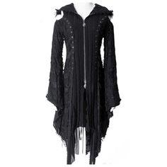 Misanthrope lange vest met uitlopende mouwen en capuchon zwart - Gothic metal