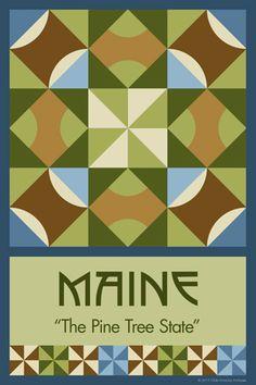 Olde America Antiques | Quilt Blocks | National Parks | Bozeman Montana : 50 STATE QUILT BLOCK SERIES - MAINE