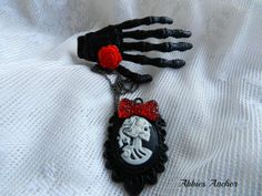 Skeleton Hand Hair Clip with Lolita Necklace Skeleton Necklace Day of the Dead Zombies Psychobilly Rockabilly Pin up Burlesque Jewelry $17.50 USD