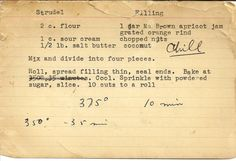Vintage recipe for Apricot Strudel.  Looks like it could havev been my grandmas.