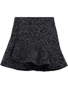 Dark Grey High Waist Ruffle Woolen Skirt EUR€21.93