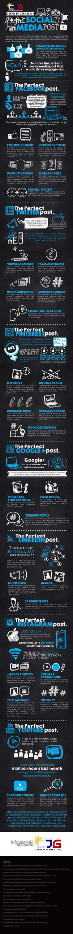How to Create a Perfect Social Media Post [Infographic] - The Best Tips To Generate Interesting And Engaging Posts On The Top 7 Social Media Networks - Marketing Digital, Internet Marketing, Social Media Marketing, Content Marketing, Online Marketing, Social Media Site, Social Media Content, Social Networks, Info Board