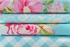 Shabby Chic Blue Floral Fat Quarter Bundle-fabric, fat quarter, bundle, floral, lecien, flower, sugar, sewing, crafts, supplies, stripes, pink, green, yellow, seam binding, satin rose