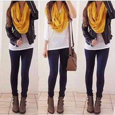 black skinny pants or leggings, brown or taupe ankle boots, white long sleeve shirt, black leather jacket, and a colored infinity scarf.