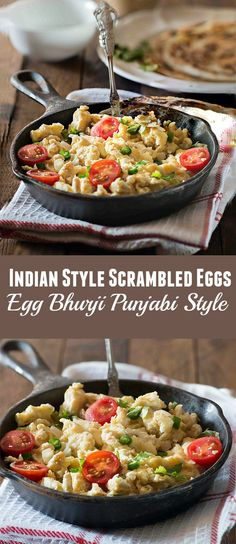Super Tasty and Easy Spicy Indian Style Scrambled eggs Egg Bhurji recipe.  An easy Indian breakfast recipe with eggs that can be cooked in 10 minutes and super delicious.