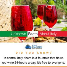 - In central Italy, there is a fountain that flows red wine a day. It's free to everyone. Italy Tour Packages, Italy Vacation Packages, 24 Hours A Day, Italy Tours, Italy Travel, Did You Know, Red Wine, Fountain, Alcoholic Drinks