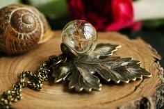 Dandelion wish necklace acorn necklace lucky by RubyRobinBoutique
