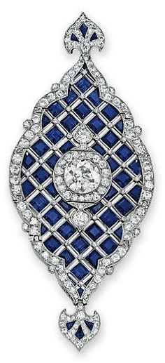 Lot-266-AN-ART-DECO-SAPPHIRE-AND-DIAMOND-PENDANT-c1920
