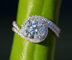 Wedding Set - 14k White gold - Diamond Engagement Ring and matching band - Halo - UNIQUE - Thin Swirl - Pave - Bp0013. $4,000.00, via Etsy.