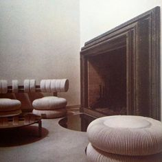 The Rome living room of architect Pippo Anfuso. From Norma Skurka's 'Underground Interiors', 1972 . Ph: Oberto Gili.