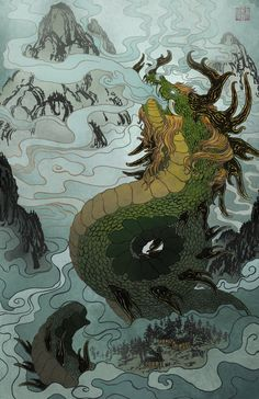 """Done for an art contest in which the theme was """"dragons"""" and it had to be somewhat original and it had to be a connection with a background and the drag. The Mist Bringer Japanese Drawings, Japanese Tattoo Art, Art And Illustration, Art Vampire, Art Asiatique, Samurai Art, Samurai Tattoo, Dragon Artwork, Japan Art"""