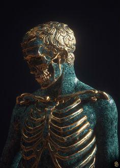 Dark Fantasy, Fantasy Art, Gold Aesthetic, Skull Art, Gold Skull, Skulls, Surreal Art, Oeuvre D'art, Dark Art