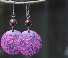 Artisan earrings Copper earrings Patina earrings Vintage