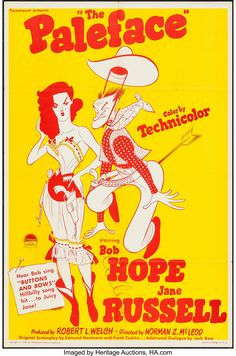 The Paleface Movie Poster x 40 Inches - x -(Jane Russell)(Bob Hope)(Robert Armstrong)(Iris Adrian)(Robert Watson) Calamity Jane, Jane Russell, Mamie Van Doren, Shelley Winters, John Garfield, John Payne, Crime Film, Bob Hope, Rose Images