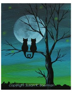 Items similar to cat lovers silhouette - print silhouetted cats sit on tree under full moon (can be personalized) on etsy - Great print for a special couple you know or just for love of cats! Notice how their tails curl tog - Cat Drawing, Painting & Drawing, Drawings Of Cats, Couple Drawings, Cat Sitting, Crazy Cats, Cat Art, Painting Inspiration, Cat Lovers
