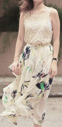 Bird print maxi--I'd liven it up a bit w/ a bright green or navy blue top..simple to let the skirt stand out...go w/ nude heels..
